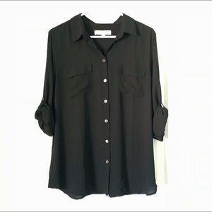 Loft Black Long Sleeve Button Down Work Blouse